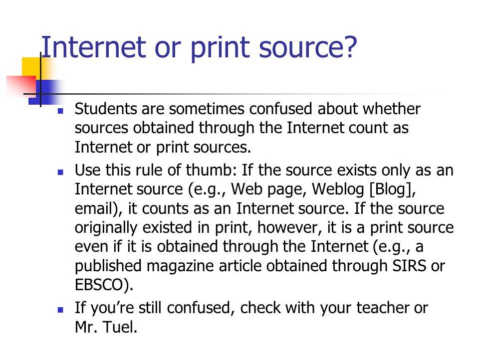 Internet or print source