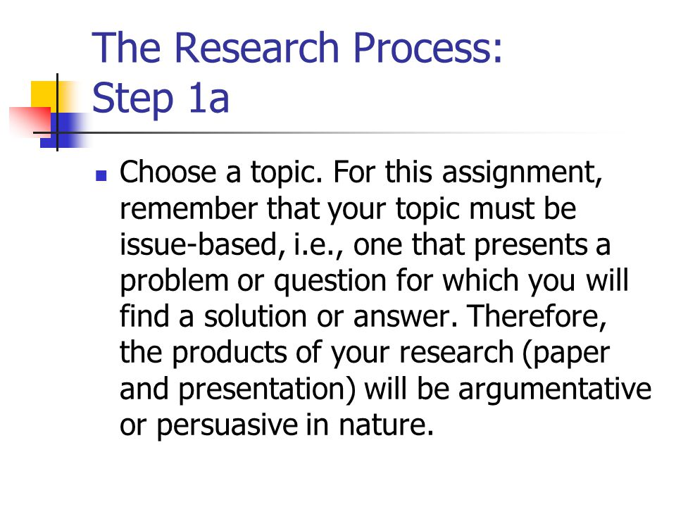 The Research Process: Step 1a