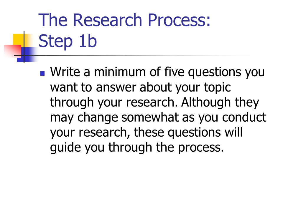 The Research Process: Step 1b