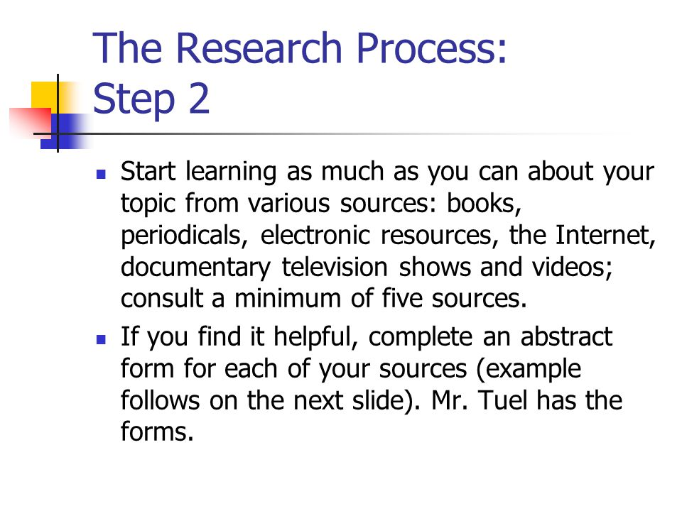 The Research Process: Step 2