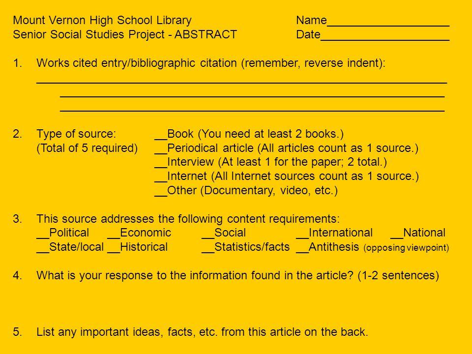 Mount Vernon High School Library Name___________________
