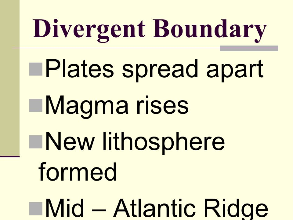 Divergent Boundary Plates spread apart Magma rises