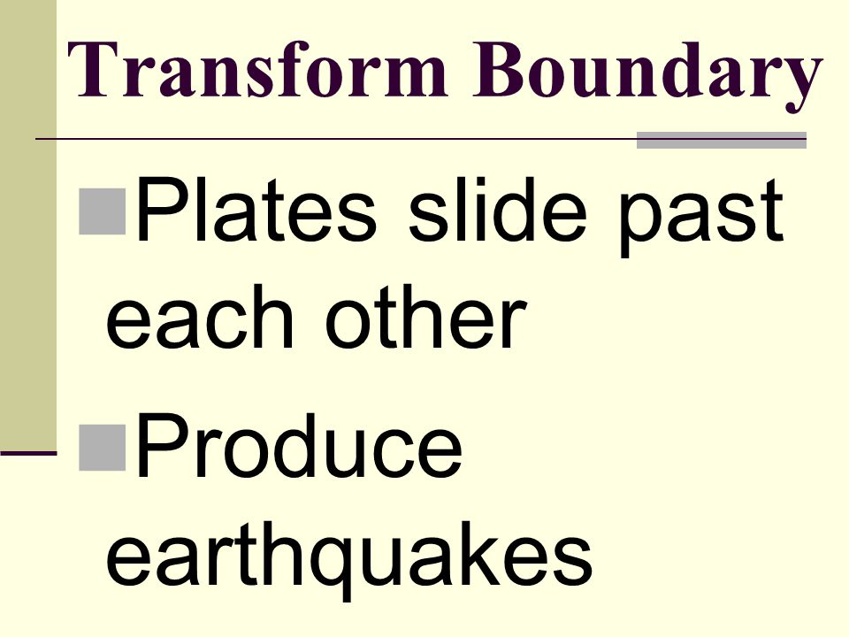 Plates slide past each other Produce earthquakes