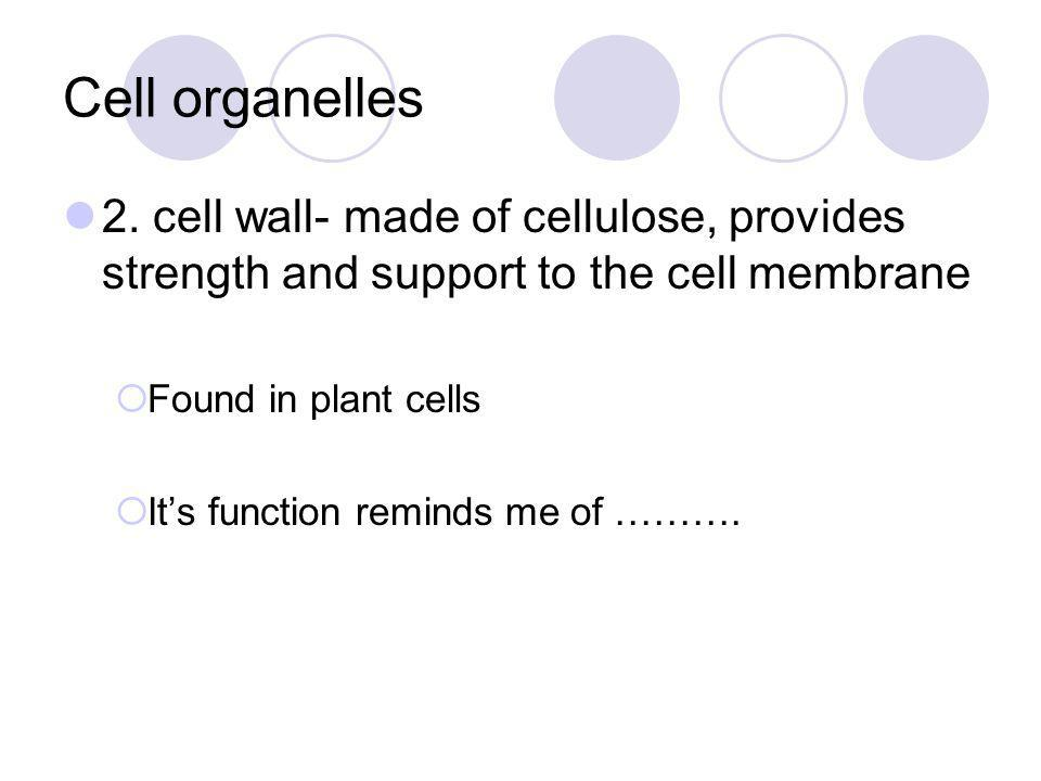Cell organelles 2. cell wall- made of cellulose, provides strength and support to the cell membrane.