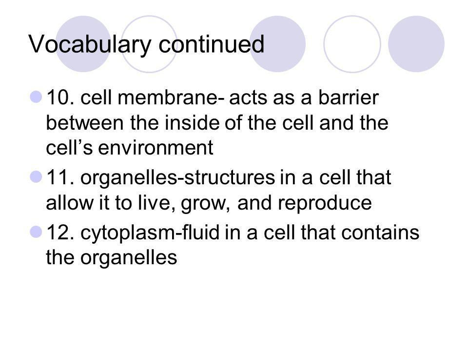 Vocabulary continued 10. cell membrane- acts as a barrier between the inside of the cell and the cell's environment.