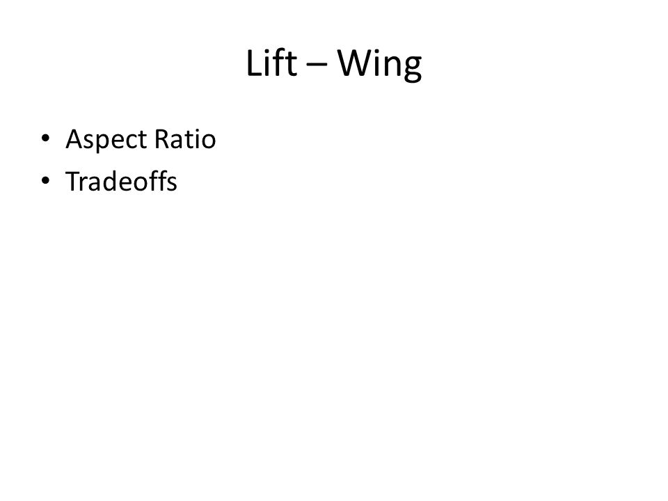 Lift – Wing Aspect Ratio Tradeoffs Show CL alpha curve