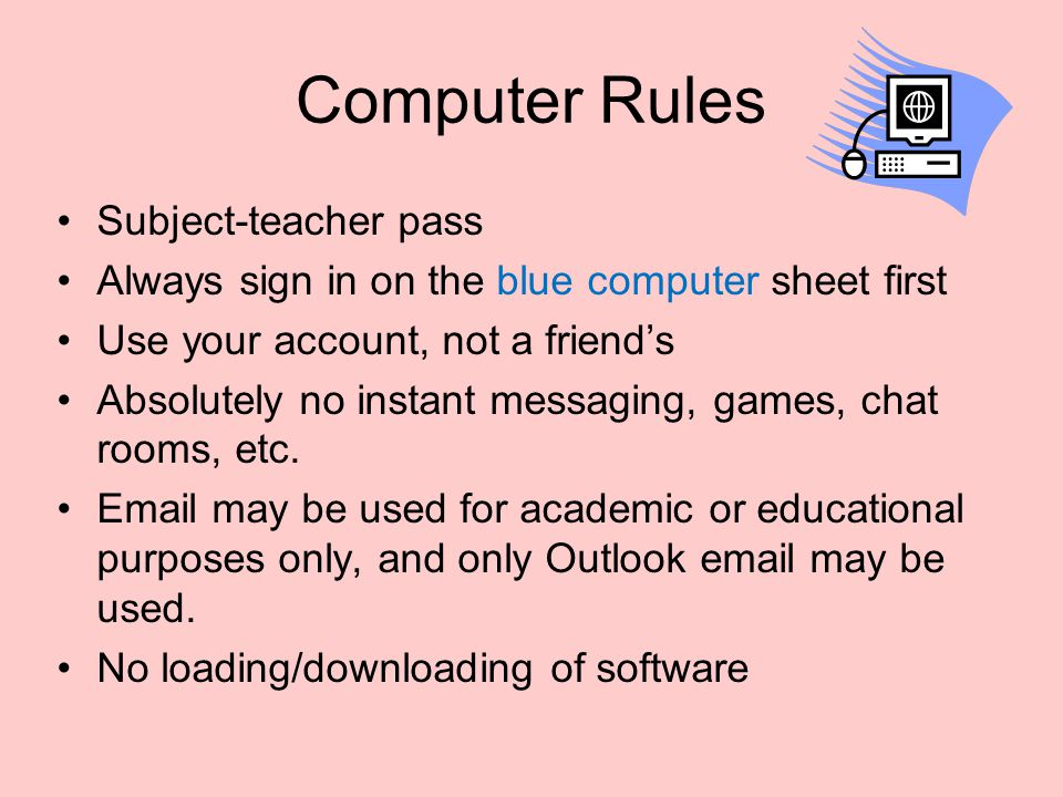 Computer Rules Subject-teacher pass