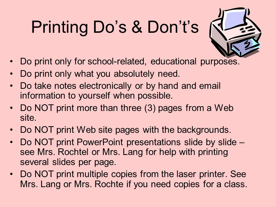 Printing Do's & Don't's