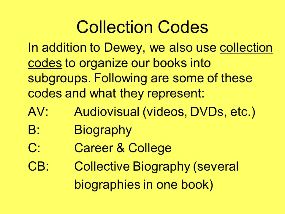 Collection Codes