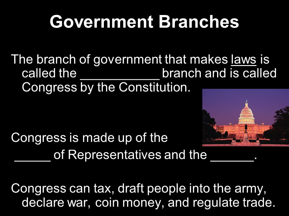 Government Branches The branch of government that makes laws is called the ___________ branch and is called Congress by the Constitution.