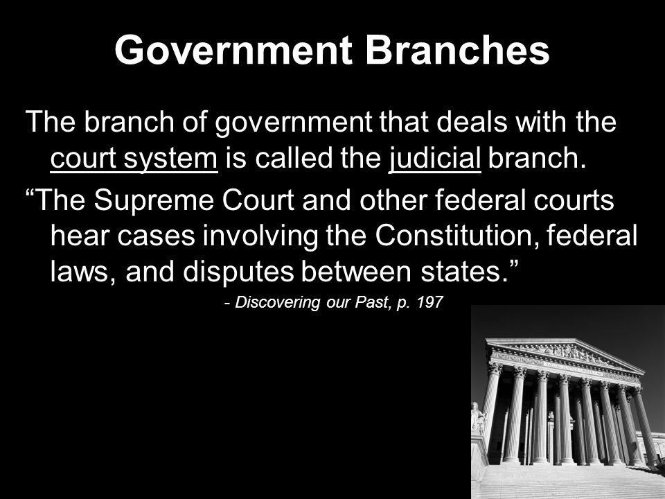 Government Branches The branch of government that deals with the court system is called the judicial branch.