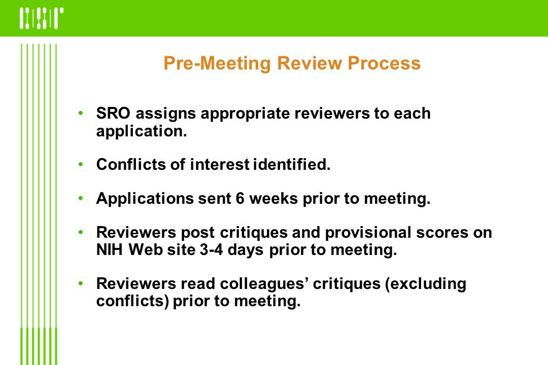 Pre-Meeting Review Process