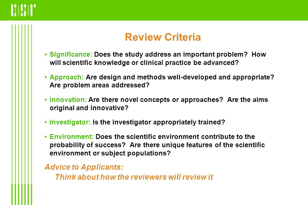 Review Criteria Advice to Applicants: