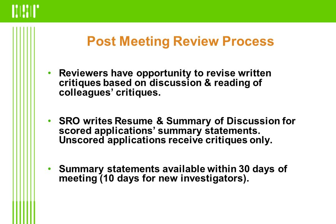 Post Meeting Review Process
