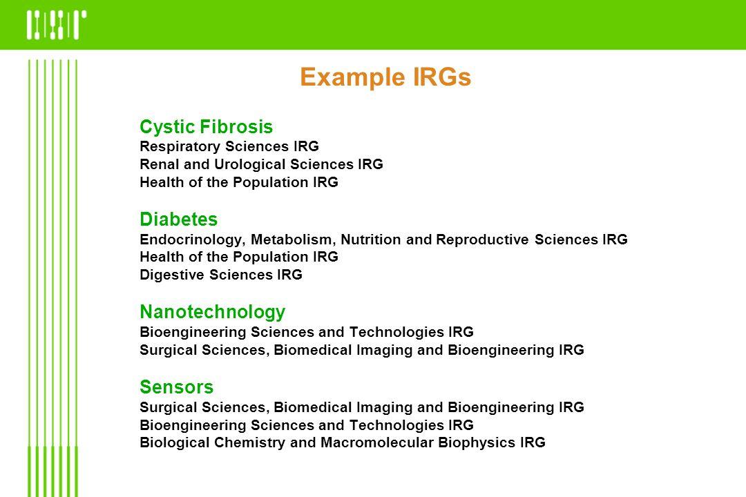 Example IRGs Cystic Fibrosis Diabetes Nanotechnology Sensors
