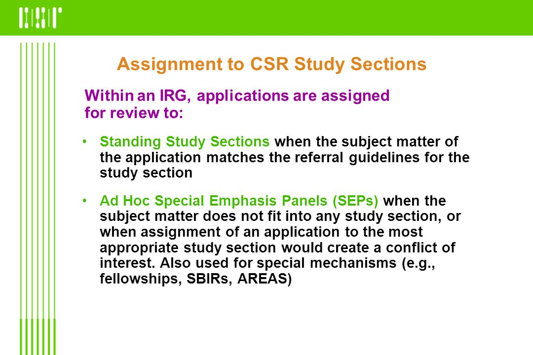 Assignment to CSR Study Sections