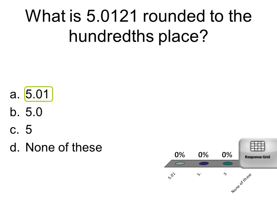 What is 5.0121 rounded to the hundredths place