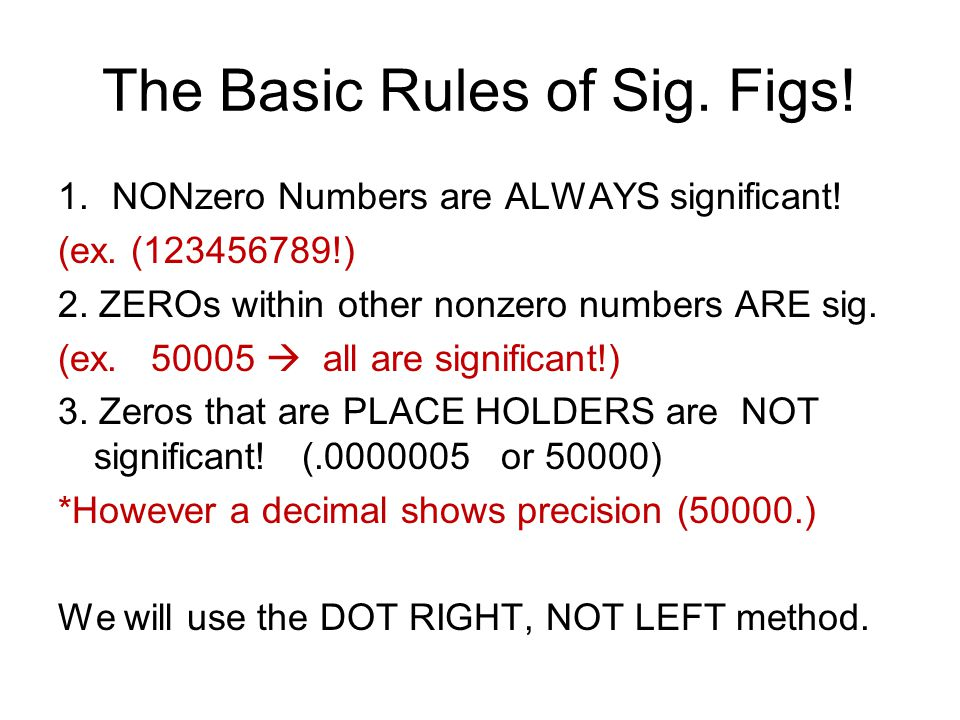 The Basic Rules of Sig. Figs!