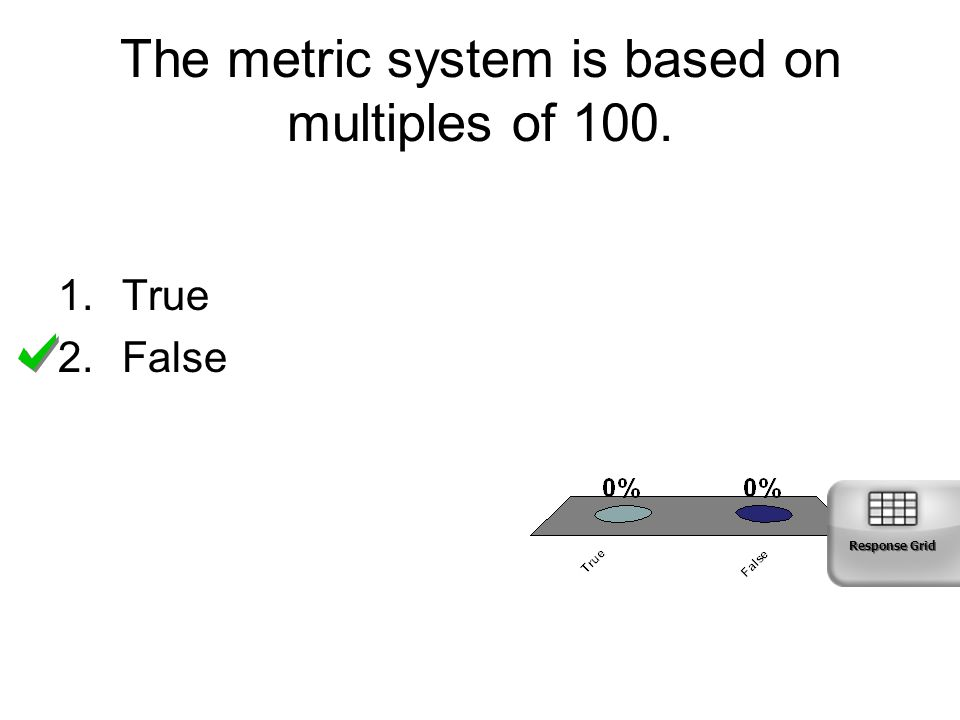 The metric system is based on multiples of 100.