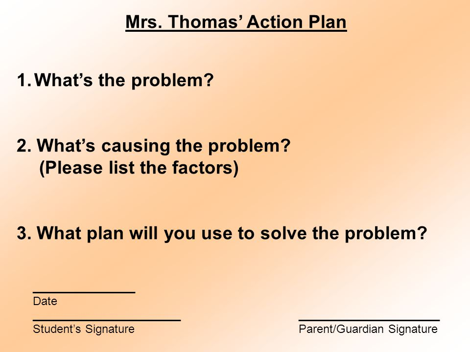 Mrs. Thomas' Action Plan