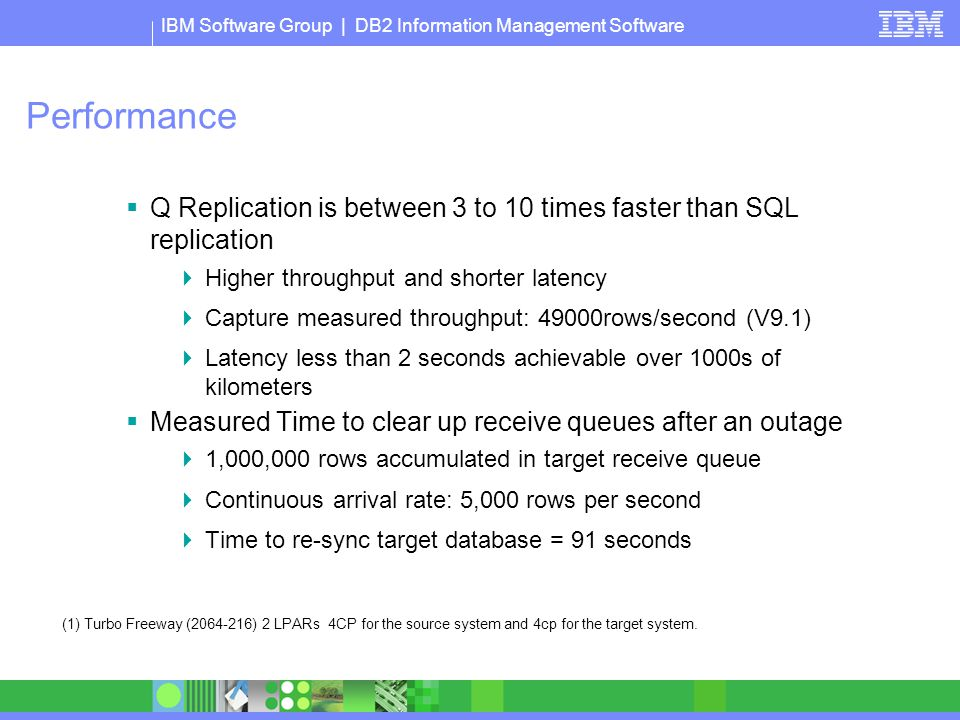 Performance Q Replication is between 3 to 10 times faster than SQL replication. Higher throughput and shorter latency.