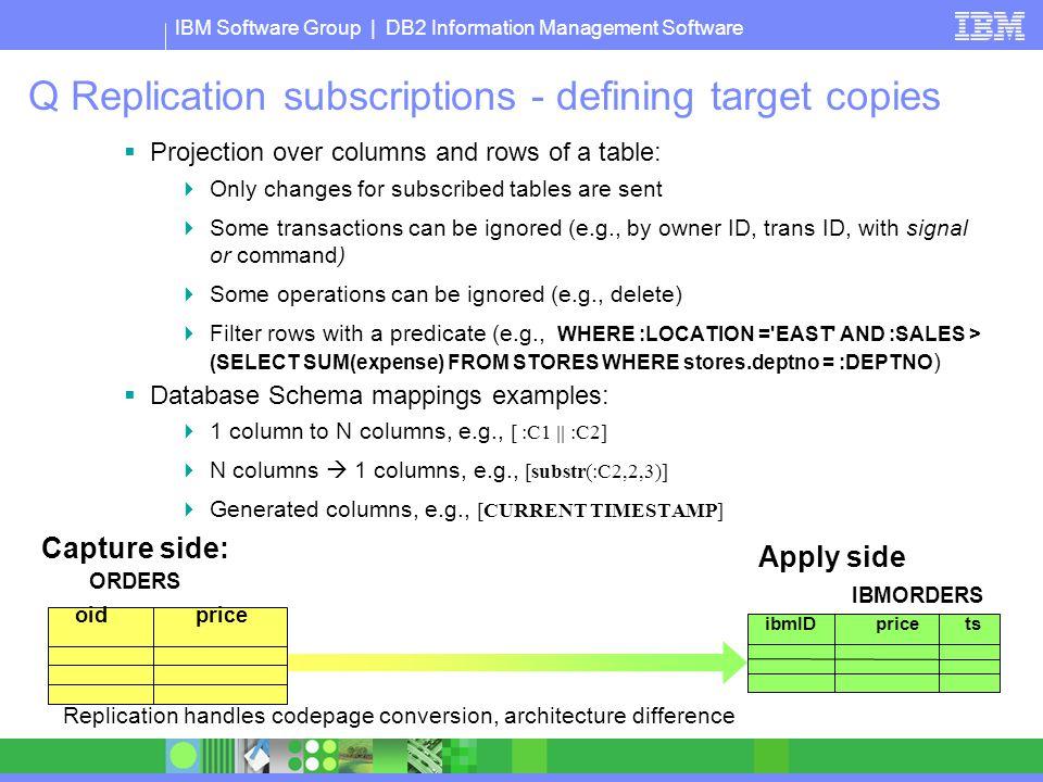 Q Replication subscriptions - defining target copies