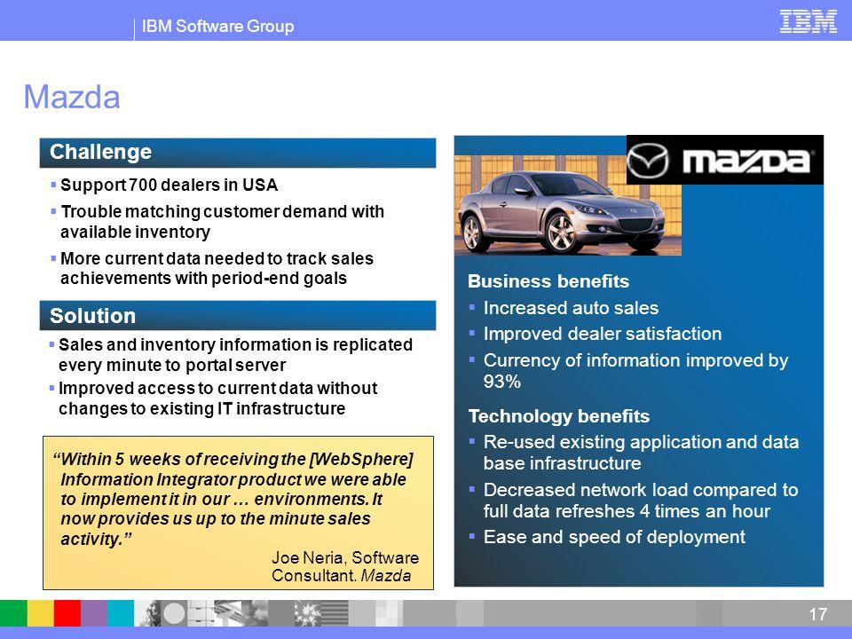 Mazda Challenge Solution Business benefits Increased auto sales