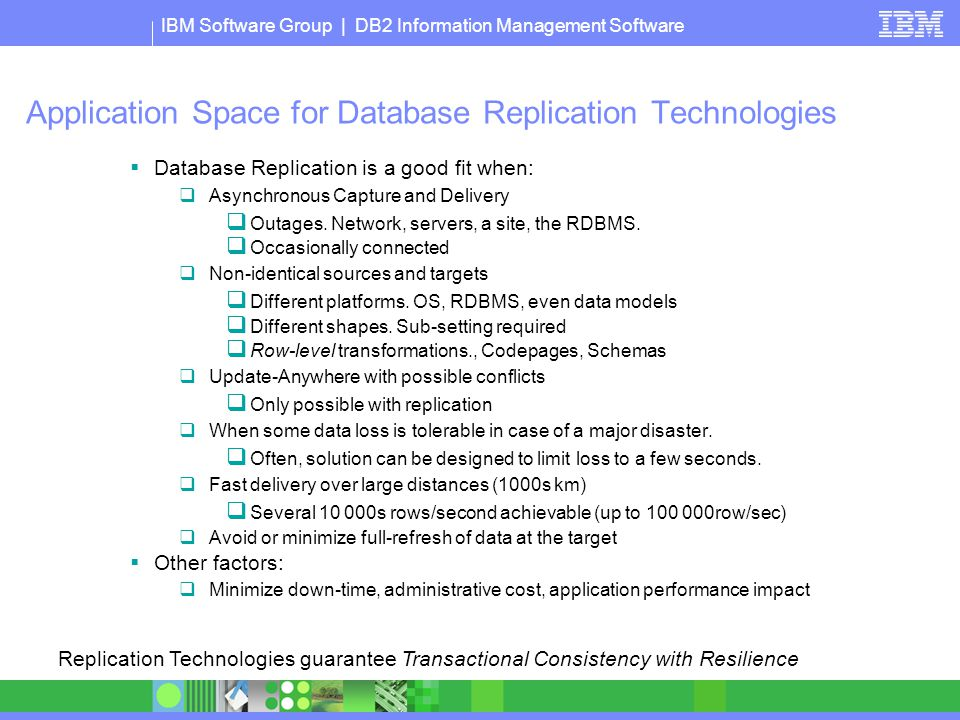 Application Space for Database Replication Technologies