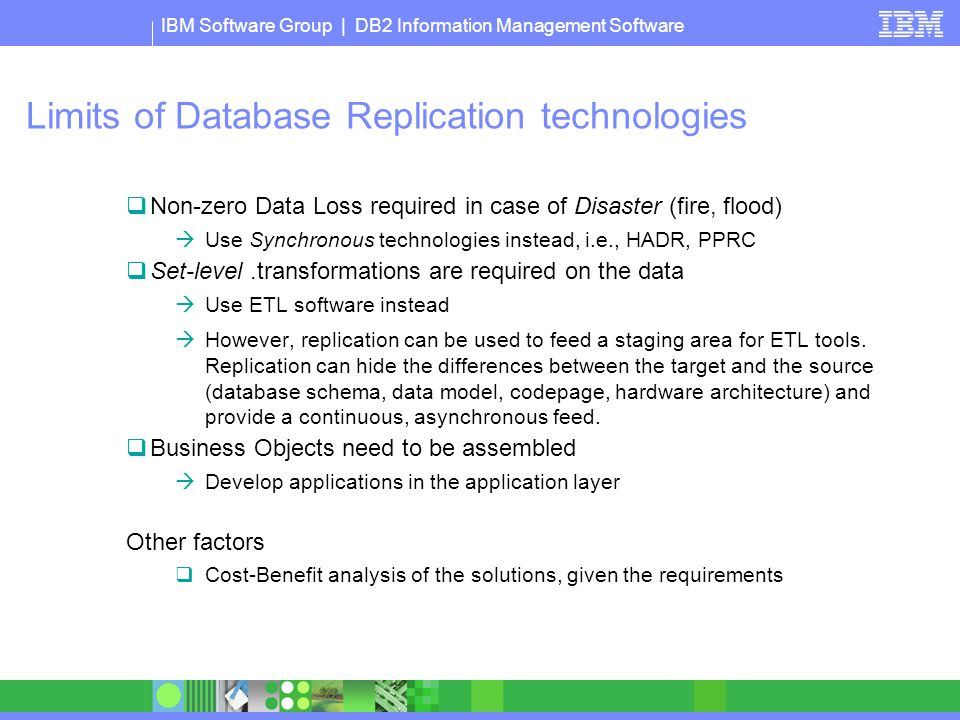 Limits of Database Replication technologies