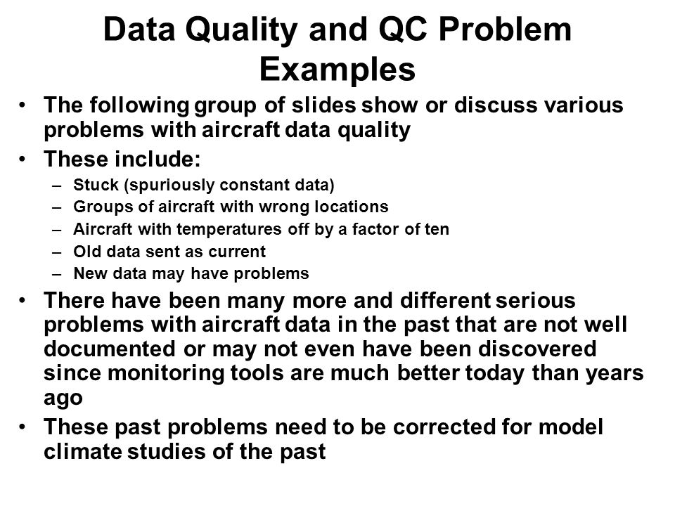 Data Quality and QC Problem Examples