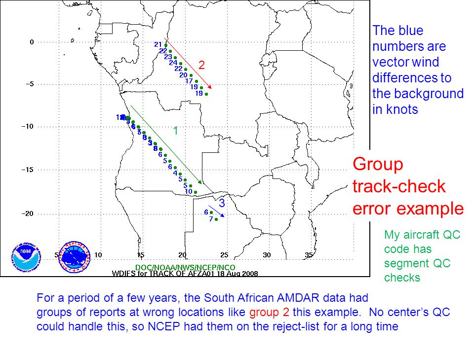 Group track-check error example The blue numbers are vector wind