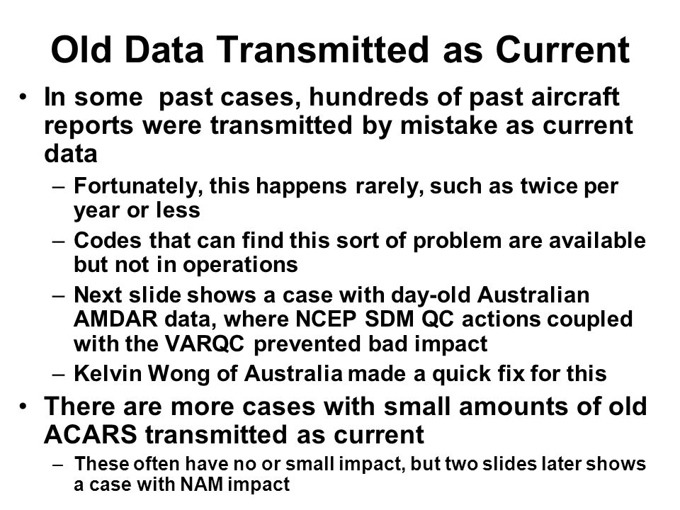 Old Data Transmitted as Current