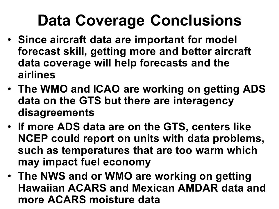 Data Coverage Conclusions