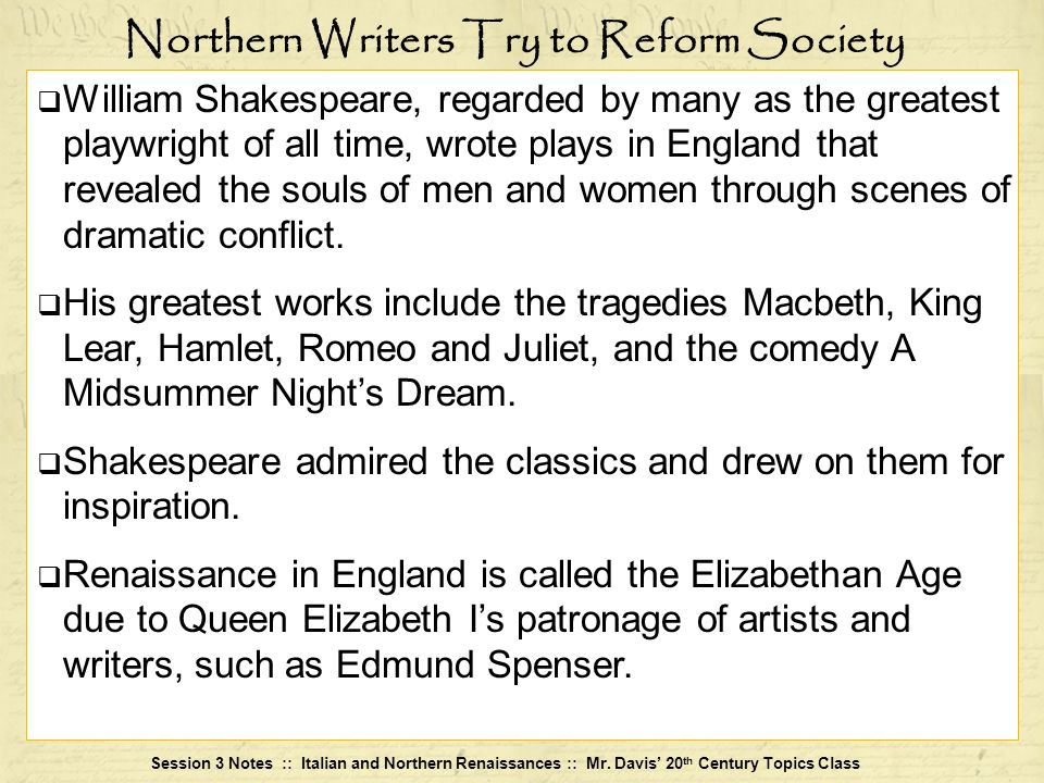 Northern Writers Try to Reform Society