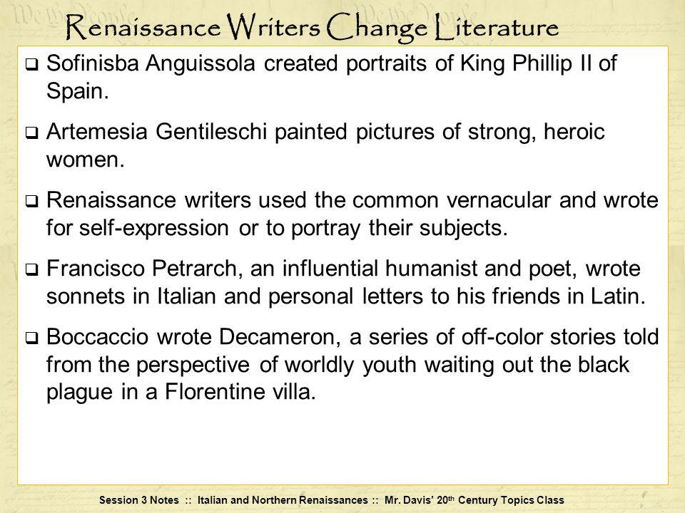 Renaissance Writers Change Literature