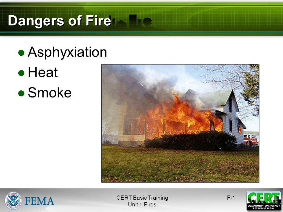 Dangers of Fire Asphyxiation Heat Smoke CERT Basic Training