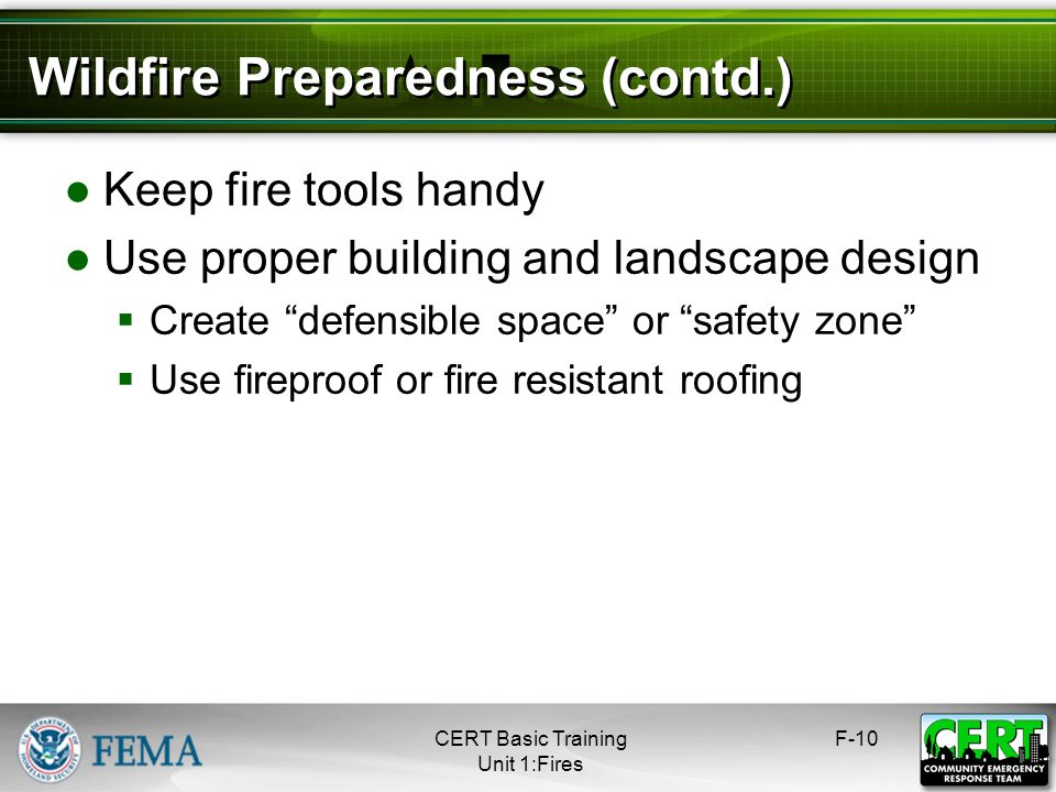 Wildfire Preparedness (contd.)