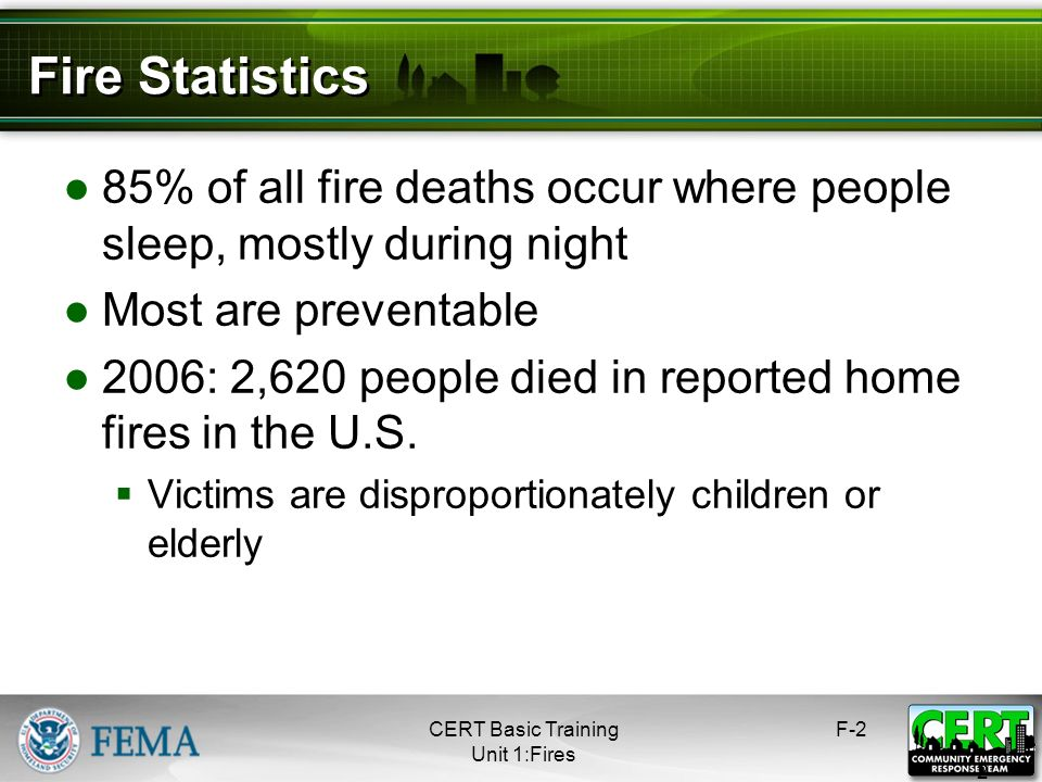 Fire Statistics 85% of all fire deaths occur where people sleep, mostly during night. Most are preventable.