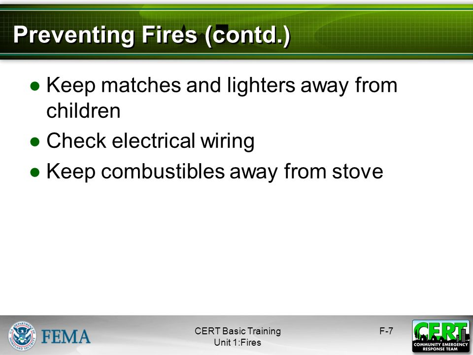 Preventing Fires (contd.)
