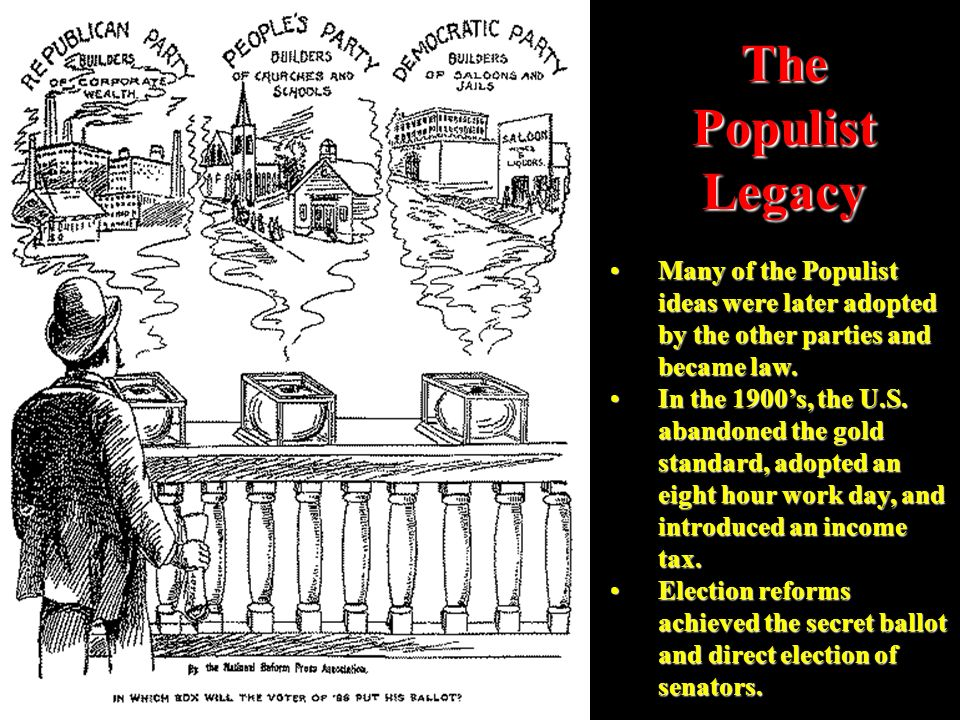 The Populist Legacy Many of the Populist ideas were later adopted by the other parties and became law.