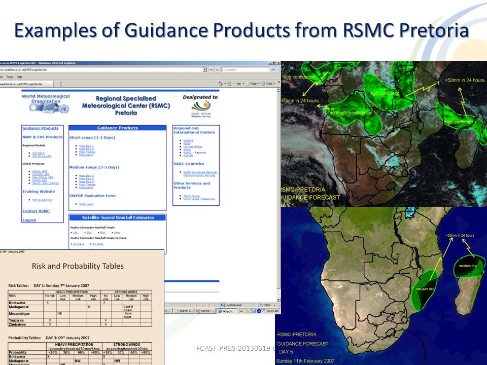Examples of Guidance Products from RSMC Pretoria