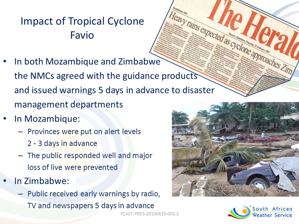 Impact of Tropical Cyclone Favio