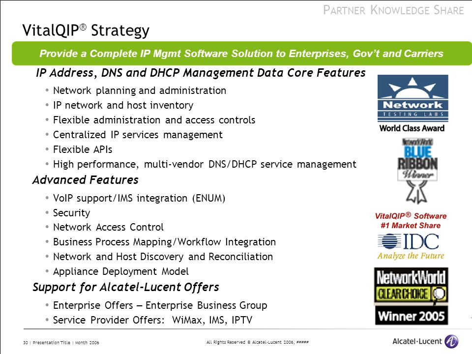 VitalQIP® Strategy Provide a Complete IP Mgmt Software Solution to Enterprises, Gov't and Carriers.