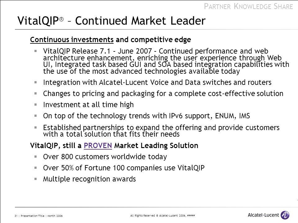 VitalQIP® – Continued Market Leader