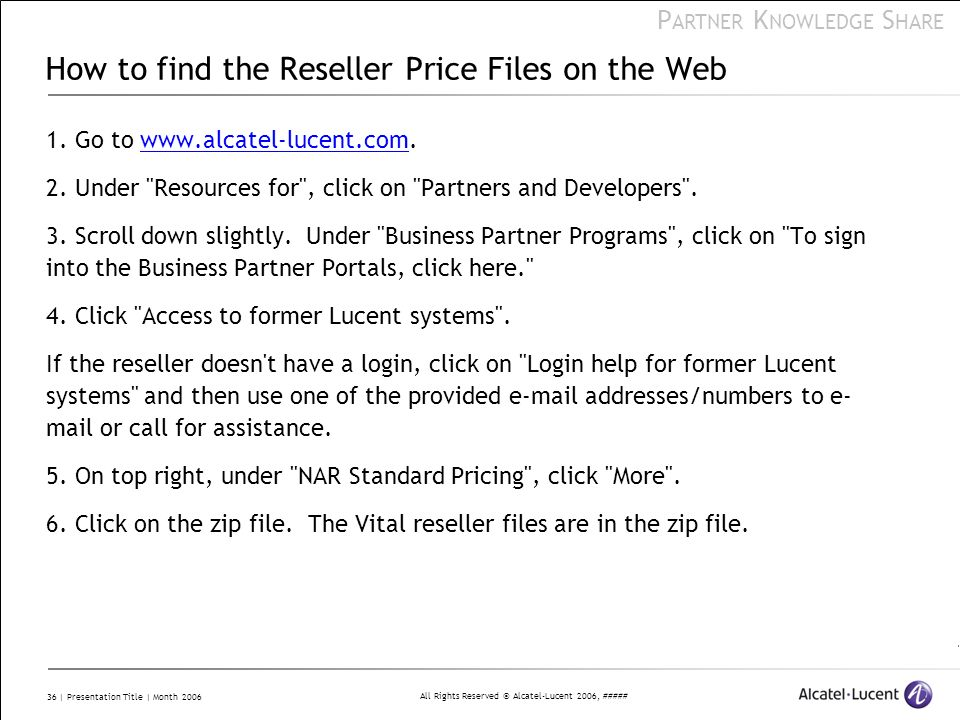 How to find the Reseller Price Files on the Web