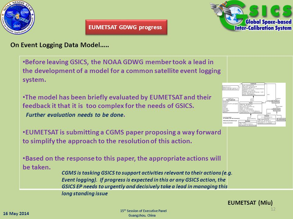 EUMETSAT GDWG progress