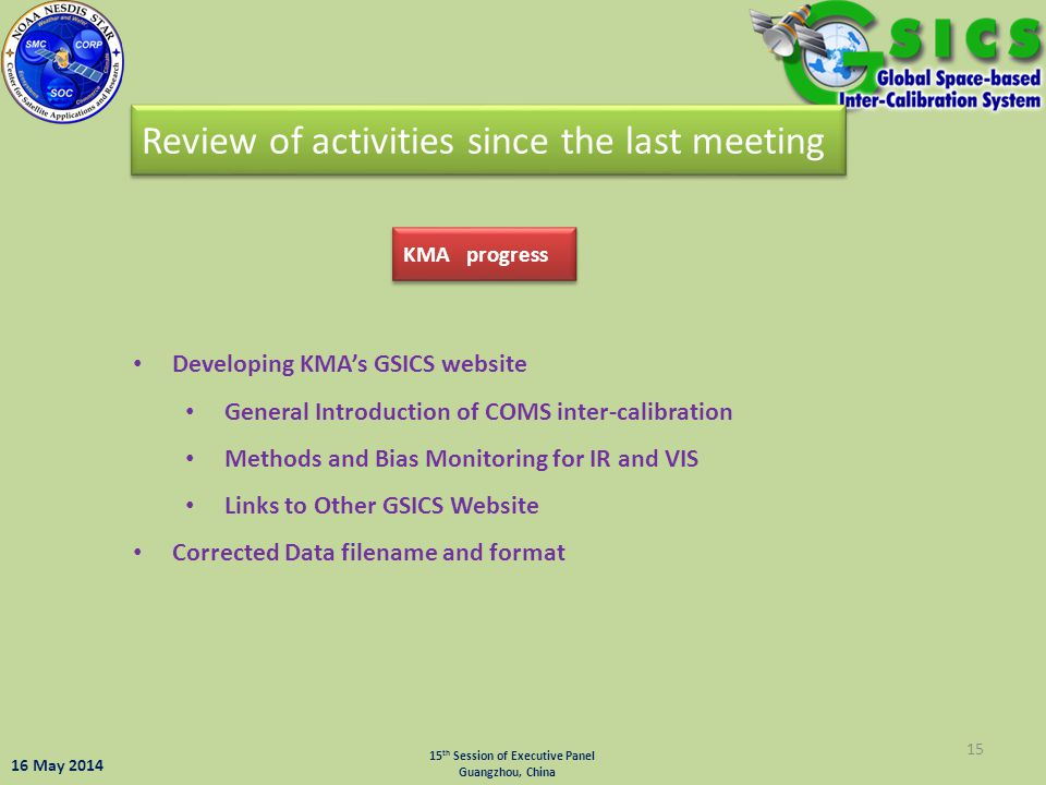 Review of activities since the last meeting