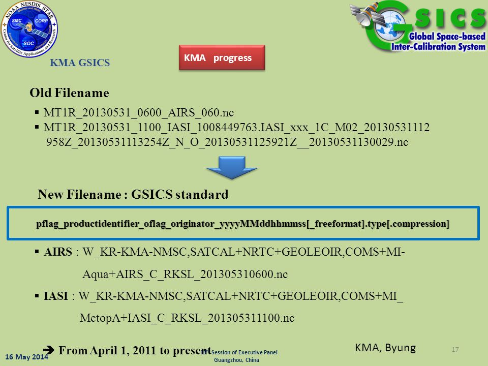 New Filename : GSICS standard