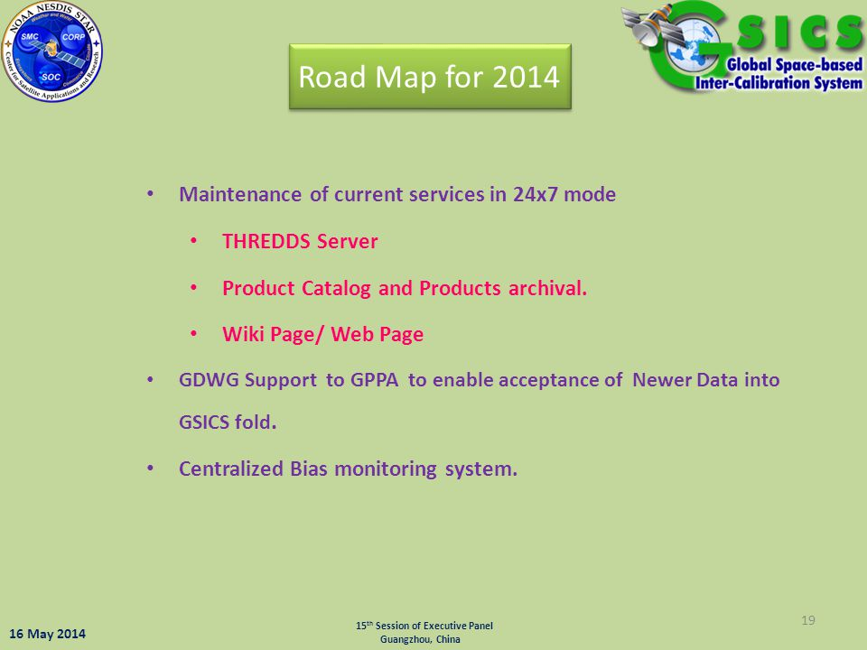 Road Map for 2014 Maintenance of current services in 24x7 mode