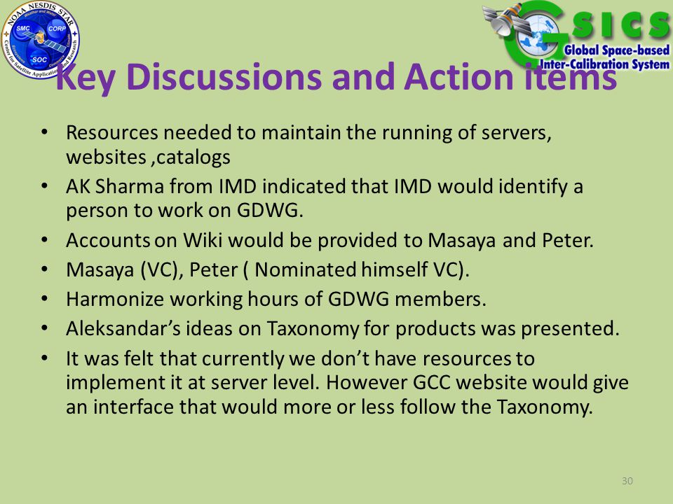 Key Discussions and Action items